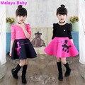 Malayu Bebê Europa 2016 nova queda de moda longa-costura de algodão de mangas compridas crianças dos desenhos animados no ar menina vestido de algodão,