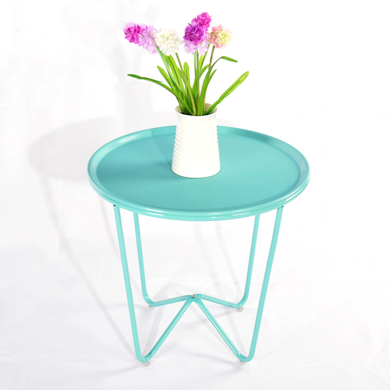 Assemble Home Simple Tea Table Living Room Iron Small Round Fashion Small Side Table simple modern toughened glass small round bar table living room home leisure fashion high round table