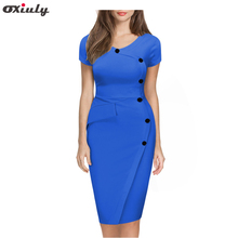 Oxiuly женские летние платья модные короткий рукав кнопка империи талии тонкий плюс Размеры покачиваться Карандаш Bodycon Повседневное Sheath Dress