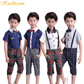 Kindstraum Boys Summer Clothing Suits 4 Colors School Style Short Sleeve Shirt + Plaid Suspender Pant + Tie Kids Twinsets,MC153