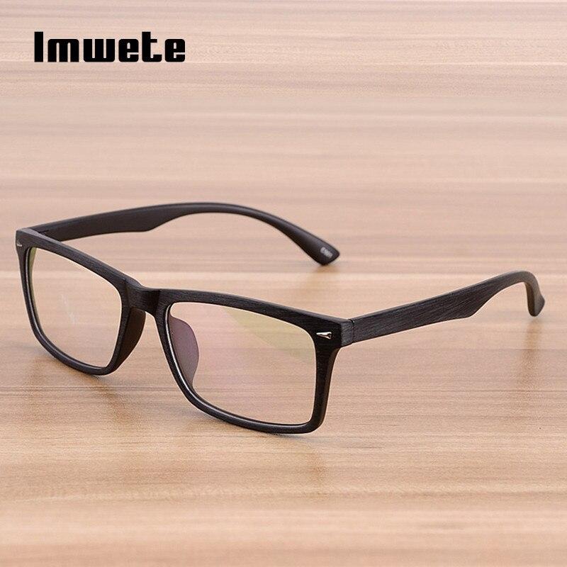 Imwete Glasses Retro Wooden Glasses Frame Men Women Classic Brand Optical Spectacle Eyeglasses Transparent Bamboo Wood Frames