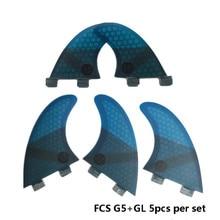 Surfing 5pcs FCS Fins G5 with GL Fin Honeycomb Fibreglass G5+GL Blue Quilhas