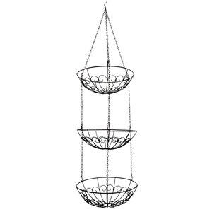 Image 3 - الخضار تخزين سلة فاكهة معلقة 3 الطبقة المطبخ متعددة الاستخدام حامل المنزل الحديد الفن المنظم الحديثة نمط رف مع سلسلة