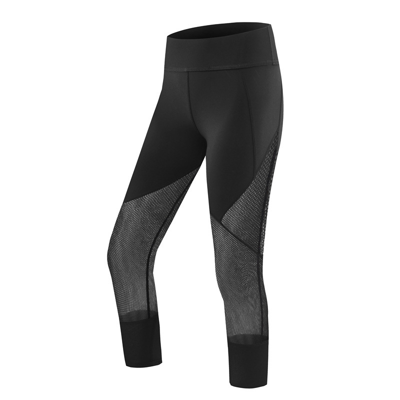 2017 New Arrival Net Yarn Patchwork Women Leggings Elastic Waist Moisture Wicking Thin Female Fitness Seamless Leggings