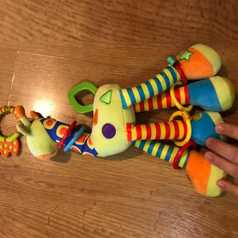 Плюшевые игрушки для младенцев развития жирафа животных колокольчики ручка детская коляска Висячие Детские игрушки грызунки 0-12 месяцев