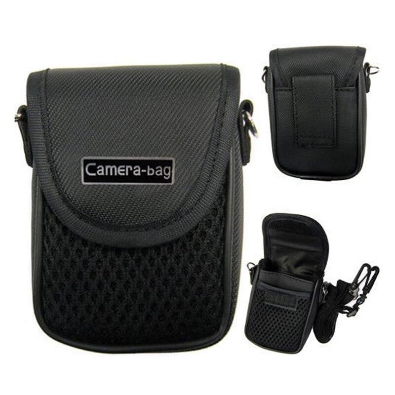 3 boyutu kamera çantası durumda kompakt kamera çantası evrensel yumuşak çanta kılıfı + kayış siyah dijital fotoğraf makineleri için