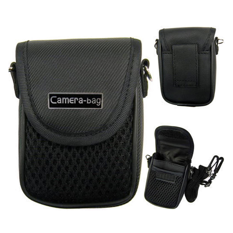 3 Size Camera Bag Case Compact Camera Case Universal Soft Bag Pouch + Strap Black For Digital Cameras