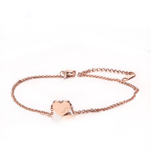 2016 popular new female foot ornaments titanium steel rose gold heart-shaped stainless steel anklet jewelry gift