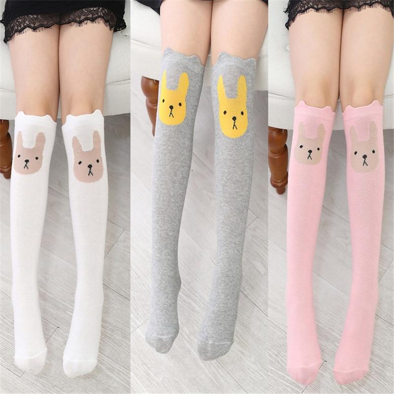 Cute Cartoon Rabbit Tide Sock Baby Cotton Calcetines Knee Kniekousen Meisje Animal Print Girls Skarpetki Dla Dzieci Meias Menina