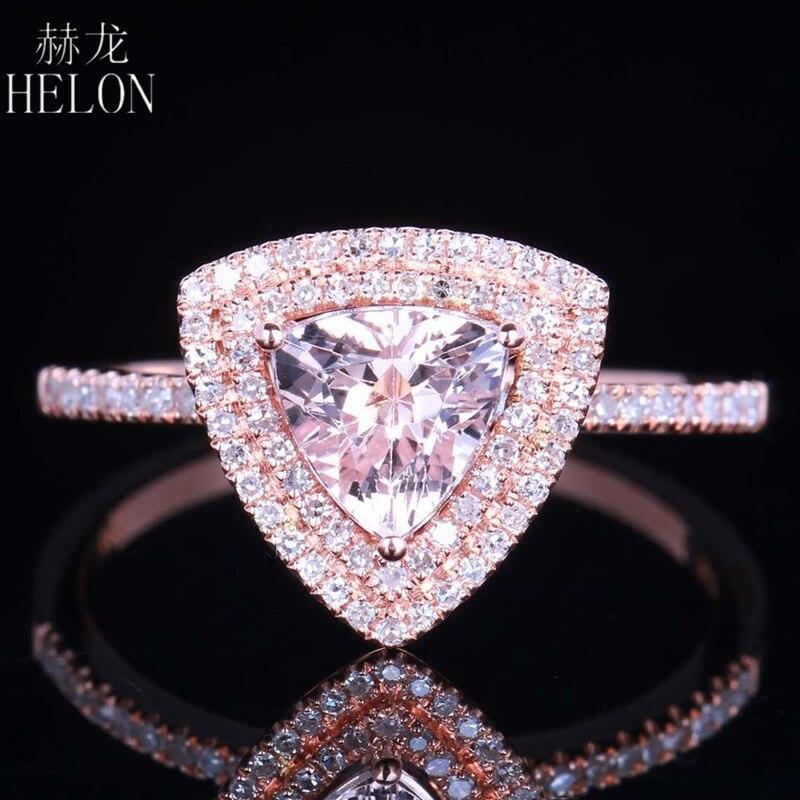 HELON Solid 14K Rose Gold 0.6ct Carat Genuine Morganite Ring Engagement Wedding Diamond  ...