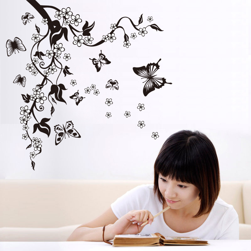 Image 4 - Creative Butterfly Flower Branch Decorative Wall Stickers Home Decor Living Room Decorations Pvc Wall Decals Diy Mural Art-in Wall Stickers from Home & Garden