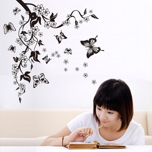 Image 4 - Creative Butterfly Flower Branch Decorative Wall Stickers Home Decor Living Room Decorations Pvc Wall Decals Diy Mural Art