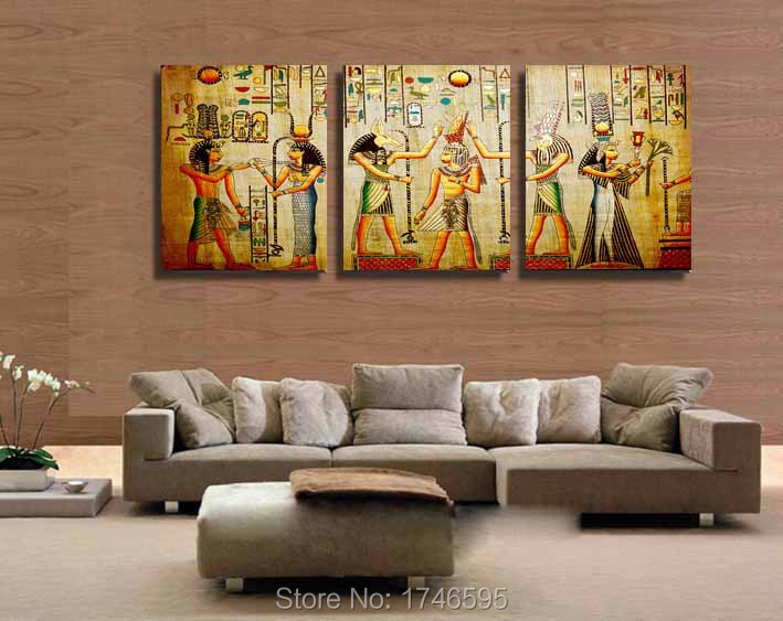 Modern Living Room Escape big size 3pcs modern living room home decor abstract egyptian