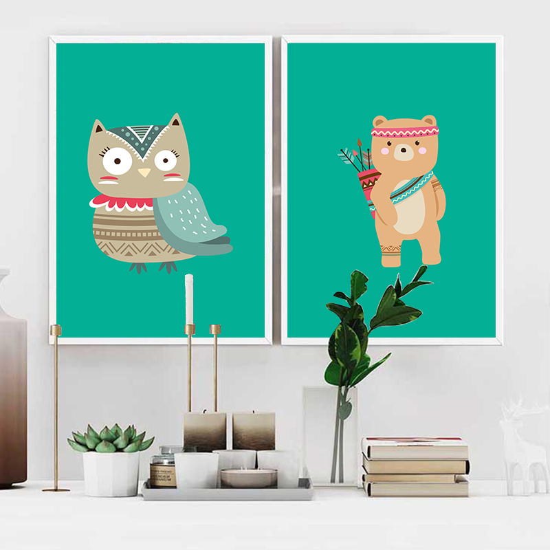 Cartoon Indian Bear Fox Owl Wall Art Canvas Painting Nordic Posters And Prints Children Wall Pictures Kids Room Decoration in Painting Calligraphy from Home Garden