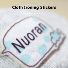 Pegatinas de nombre de hierro de tela, etiquetas multicolor impermeables lavables, tamaño personalizado pegatinas para niños, envío gratis