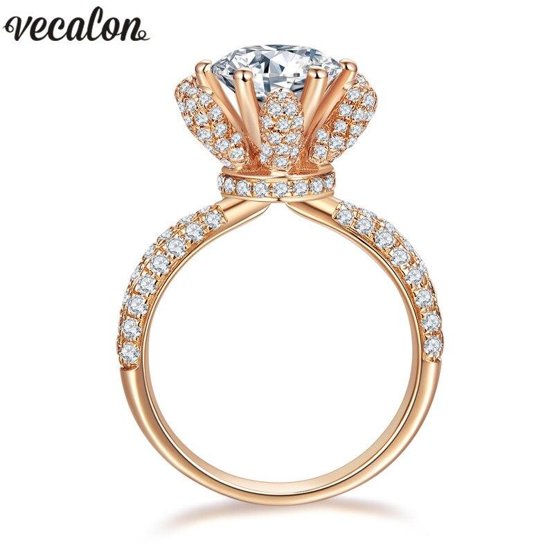 Vecalon Fleur Bijoux Rose Gold Filled Anniversaire anneau 5A Zircon Cz 925 argent Engagement wedding Band anneaux pour les femmes De Mariée
