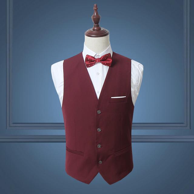 Homens Terno Colete Branco Preto Sólido Único Breasted Elegante vermelho M-3XL Slim Vestido Coletes À Prova de Colete Dos Homens de Negócios de Casamento Festa de Dança