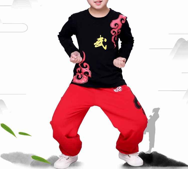 綿ユニセックス夏春子供カンフー武道スーツ太極拳服セット武術カンフーのトレーニングスーツ制服