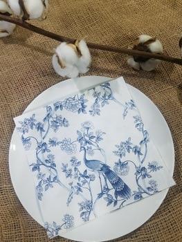 20 servilletas de mesa vintage papel azul blanco tejido impreso Pavo Real decoupage de flores fiesta de boda pañuelo decoración con toallas servilletas