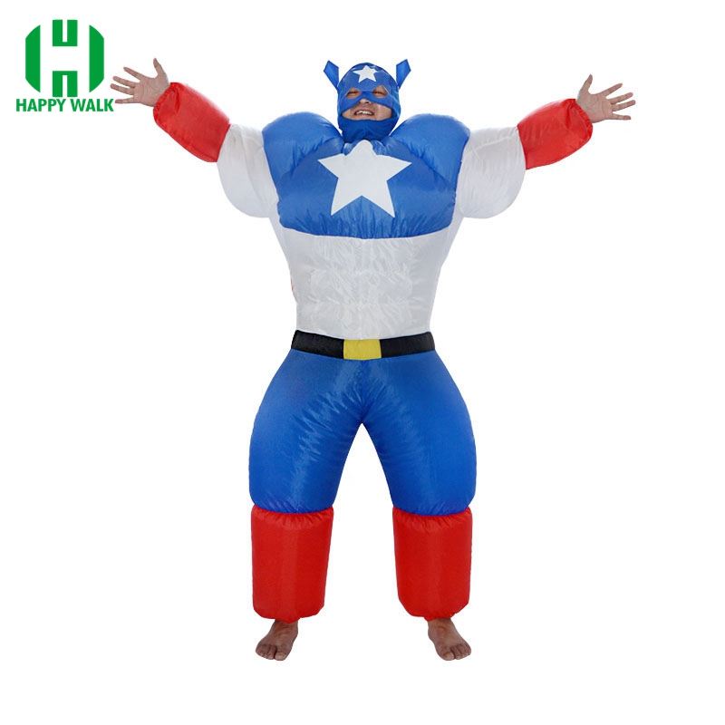 Adult Inflatable Captain America Costume Cartoon Halloween Inflatable XMAS Superhero Funny Cosplay Carnival Blowup Fancy Dress