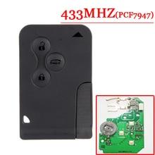 우수한 품질 3 버튼 원격 카드 pcf7947 칩 433 mhz 르노 메간 경치 무료 배송 (2 개/몫)