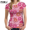 FORUDESIGNS New Arrival Women Casual T-shirts Tops Sweet Candy Donut Printing Tshirts For Girls Short Sleeved Vetement Femme