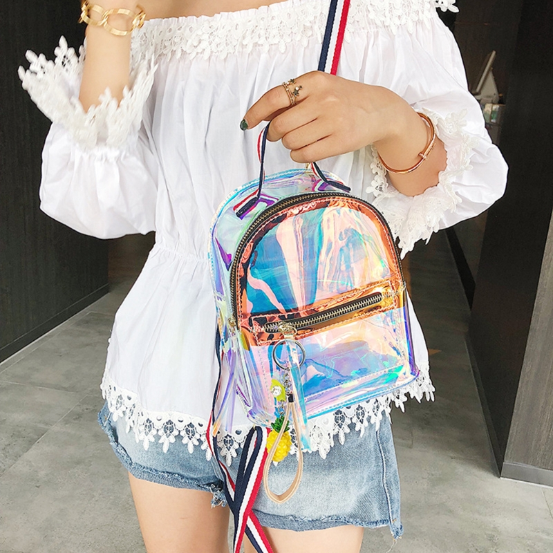 цена на Mini School Bag Travel Laser Metallic Color 918B Fashion Transparent Jelly Casual Backpack