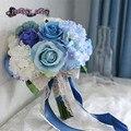 Artificial ramo azul ramo de la boda ramo de novia ramo flor mariage bruidsboeket dama de honor flores