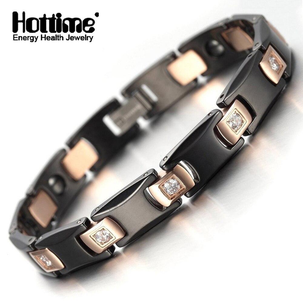 Hottime Black Negative Ion Ceramic Rose Golden Healthy Magnetic Bracelet Bangle Bio Elements Germanium Bracelets Couple Jewelry