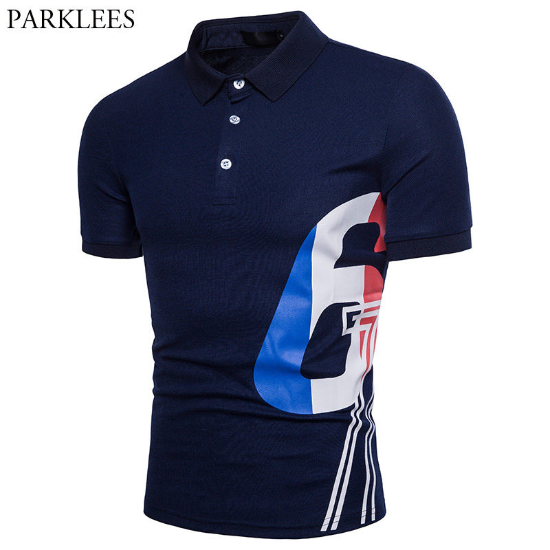 Stylish Number Printed   Polo   Shirts Men 2018 Brand New Slim Fit Short Sleeve   Polo   Shirt Men Casual Summer Breathable   Polo   Homme
