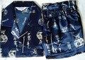 Homens azuis Chineses Seda Rayon 2 pc Roupa Robe sleepwear Pijama Jogos de Banho Vestido L XL XXL SH002