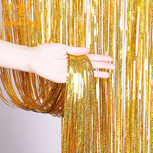Party Backdrop Curtain Glitter Twinkle Gold Tinsel Fringe Foil Curtains Birthday Wedding Decoration Girl Photo Backgroup Decor