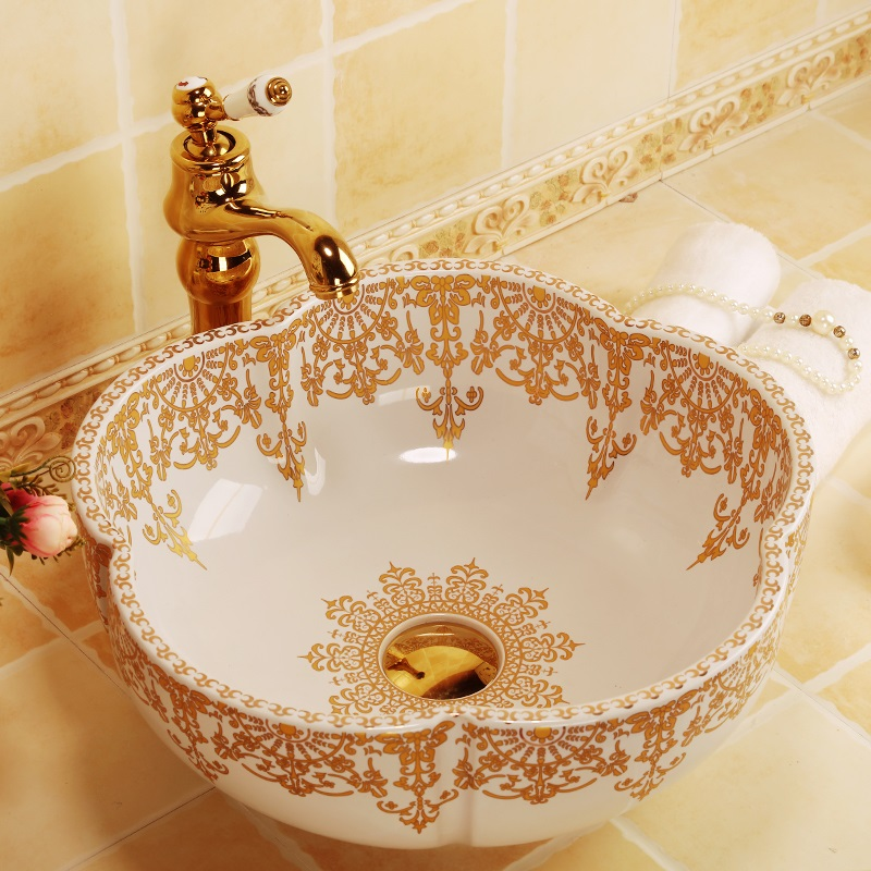 Morocco style flower shape gold decoration ceramic porcelain bathroom sinks stately gold silver color art porcelain ceramic bathroom sinks