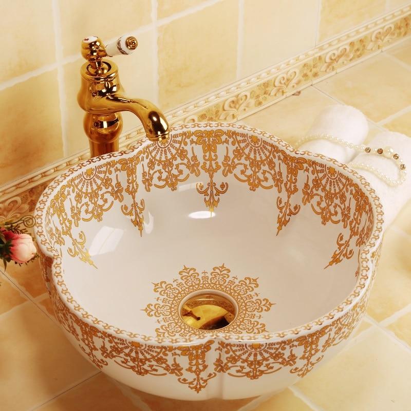 Morocco style flower shape gold decoration ceramic porcelain bathroom sinks