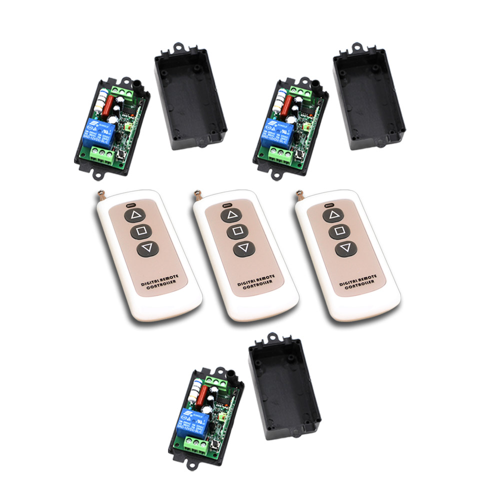 New Free Shipping AC110V 220V 1CH RF Wireless Remote Control Switch System 3Transmitter+3Receiver with Black Case 315/433mhz люстра подвесная arte lamp atlas neo a8777lm 6 3wg