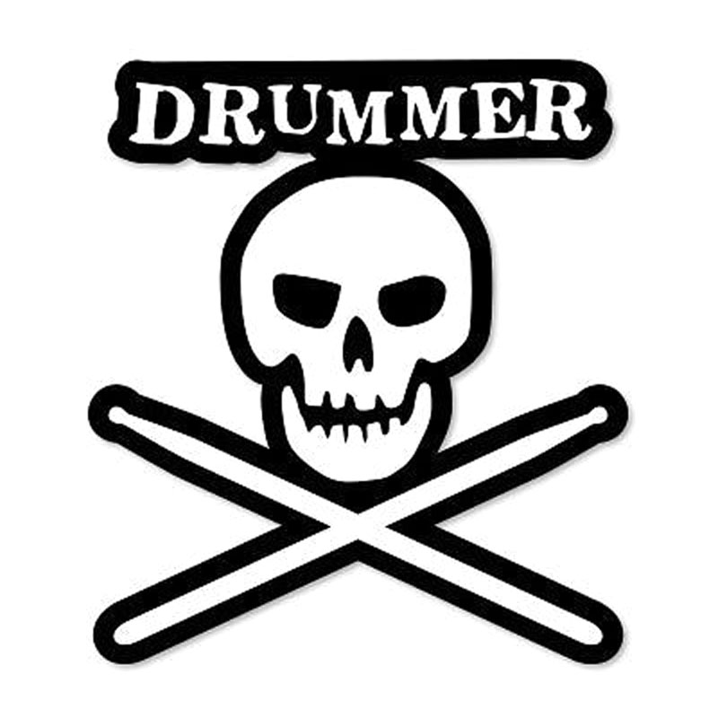 14.5X16CM DRUMMER Skull Cool Drums Funny Car styling