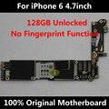 100% mãe original desbloqueado para iphone 6 4,7 polegadas 128 gb placa lógica mainboard com chips ios sem fingerprint uso em todo o mundo