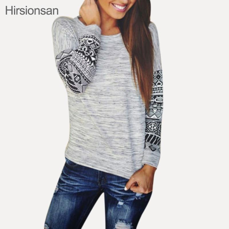 2016 Fashion Autunm sexy slim fitting O Neck Printed Long Sleeved Loose female T shirt printing