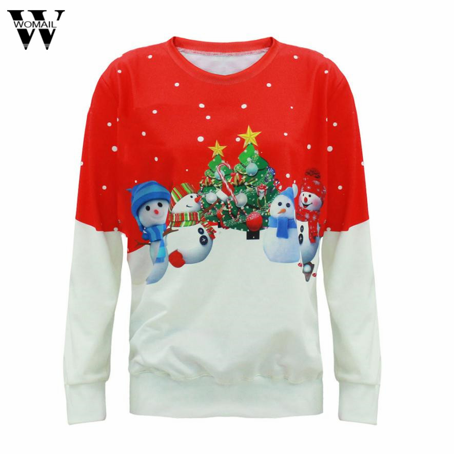 Womail Winter Loose Casual Long Sleeve blusa Women Christmas blouses Sweaters dec4