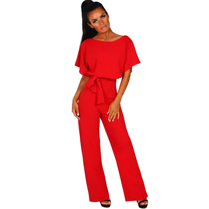 Women   Jumpsuit   Summer Casual Short Sleeve Ladies Solid Rompers O Neck Lace Up Party   Jumpsuit   2019 Women Clothes
