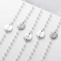 De moda chapados en oro Y plata joyas de perlas inglés letra A B C D E F G H I J K L M N O P R S T U V W X Y Z pulsera