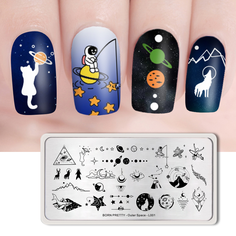 <font><b>BORN</b></font> <font><b>PRETTY</b></font> Nail Art Stamping Rectangle Plates Solar System Nail Art Stamp Image Template Outer Space Pattern <font><b>L001</b></font> image