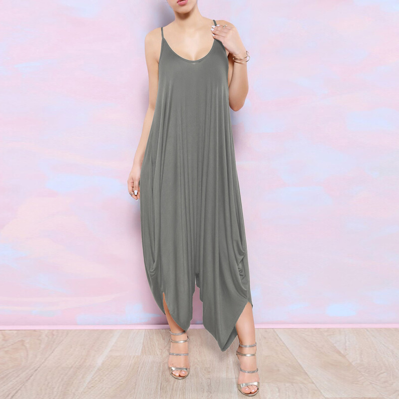 Sexy Night Club Rompers Backless Overall Pants Vintage Strape Jumpsuits Womens Loose Clothing Summer Fashion Plus Size Playsuits