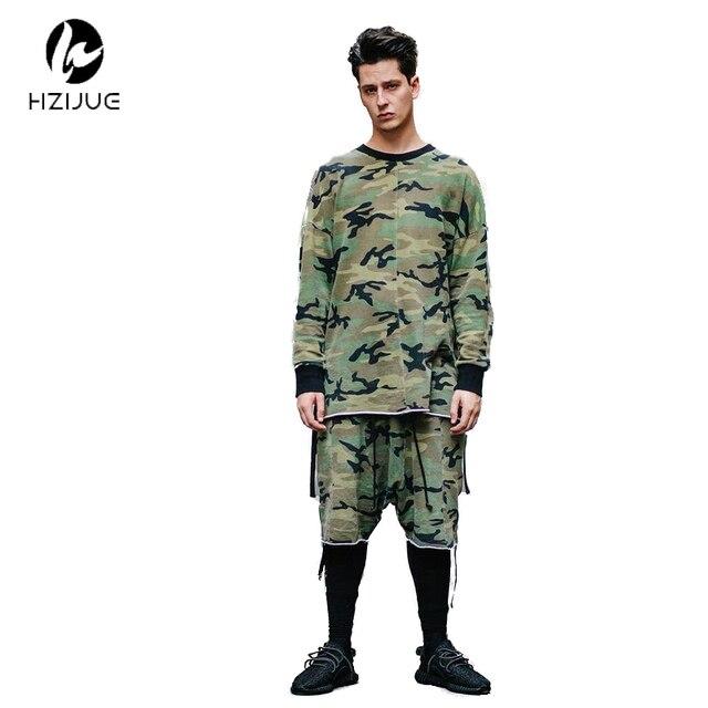 64207af3 HZIJUE oversized camo HipHop justin bieber Clothes Street Wear Kpop urban  Clothing Mens Long Sleeve Longline