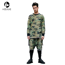 HZIJUE oversized camo HipHop justin bieber Clothes Street Wear Kpop urban Clothing Mens Long Sleeve Longline shirt swag Clothes