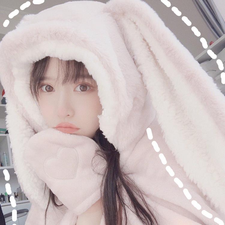 Cute Pink Comfy Blanket Sweatshirt Winter Warm Adults and Children Rabbit Ear Hooded Fleece Blanket Sleepwear Huge Bed Blankets 84