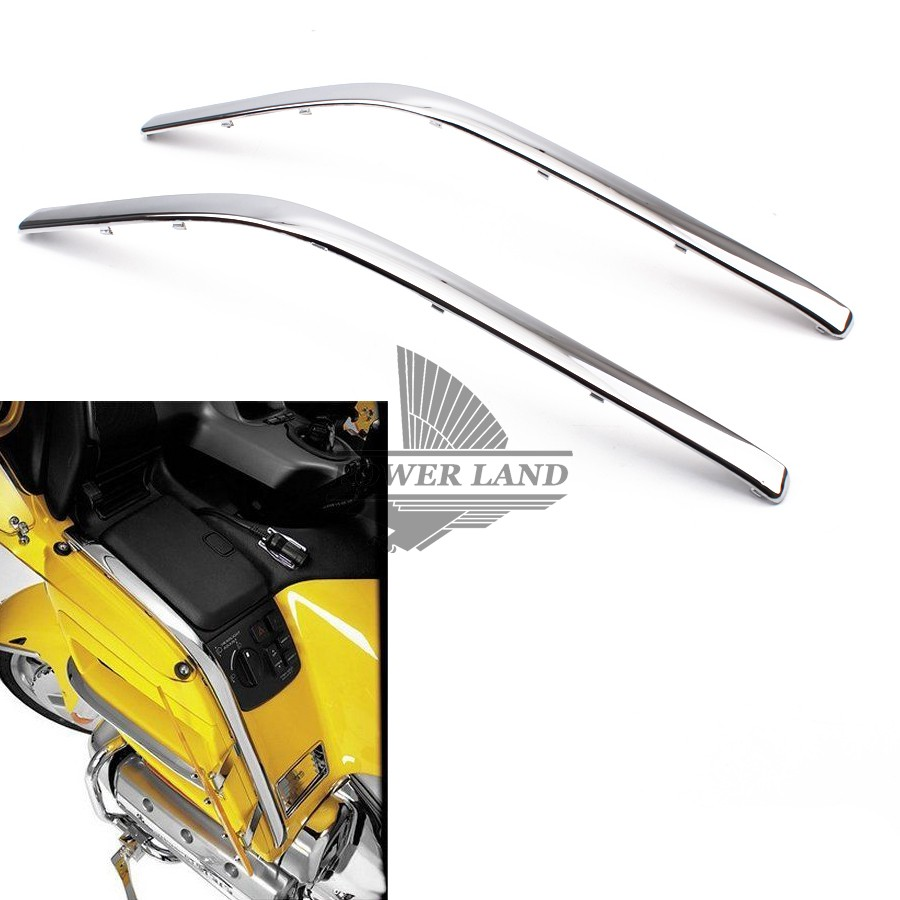 1pair Motorcycle Connecting Fairing Bow Shaped Chrome Strake For Honda GoldWing GL1800 2001-2011 GL 1800 Decoration Strips Parts chrome motorcycle front fairing headlight lower grill case for honda goldwing 1800 gl1800 2001 2011
