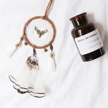 Deer Dream Catcher All the way to peace Feather Wind Chimes Car Interior Pendant Home Decoration Gift