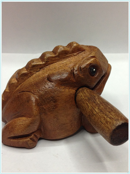 Thailand woodcarving handicraft Frog Toad, frog sound when you beat him, wooden toys, souvenirs(A222)