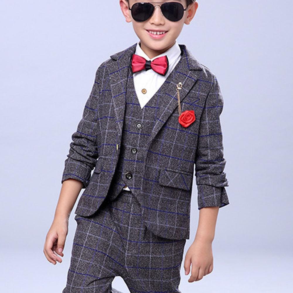 Zēnu kāzu tērpi Bērnu zila jaka + veste + bikses 3 gab. / - Bērnu apģērbi - Foto 3